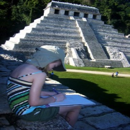Drawing the Temple of the Inscriptions - Palenque